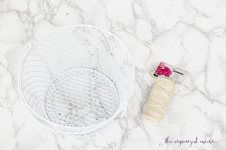 wire basket and twine to create macrame knock-off indoor plant hanger