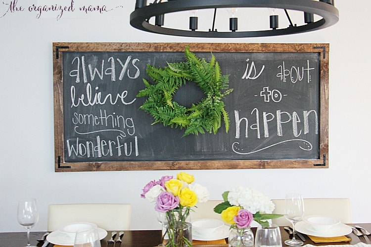 super simple extra large chalkboard with greenery wreath