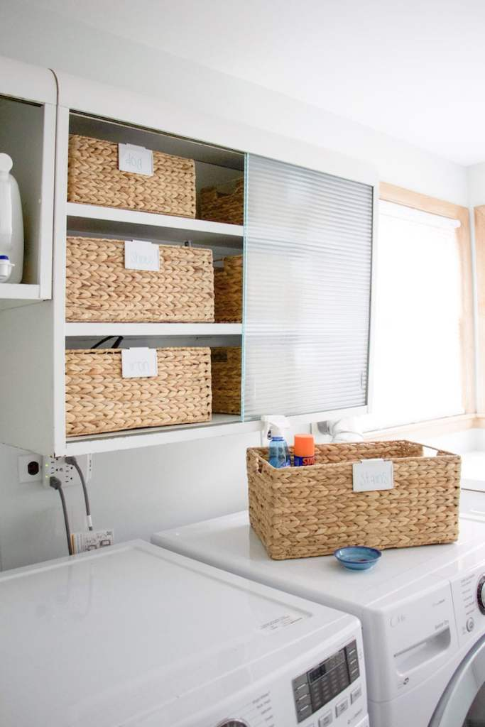 Learn tips from a professional organizer her tips on how to organize laundry room when you have limited space or unique features. #laundryroom #organized