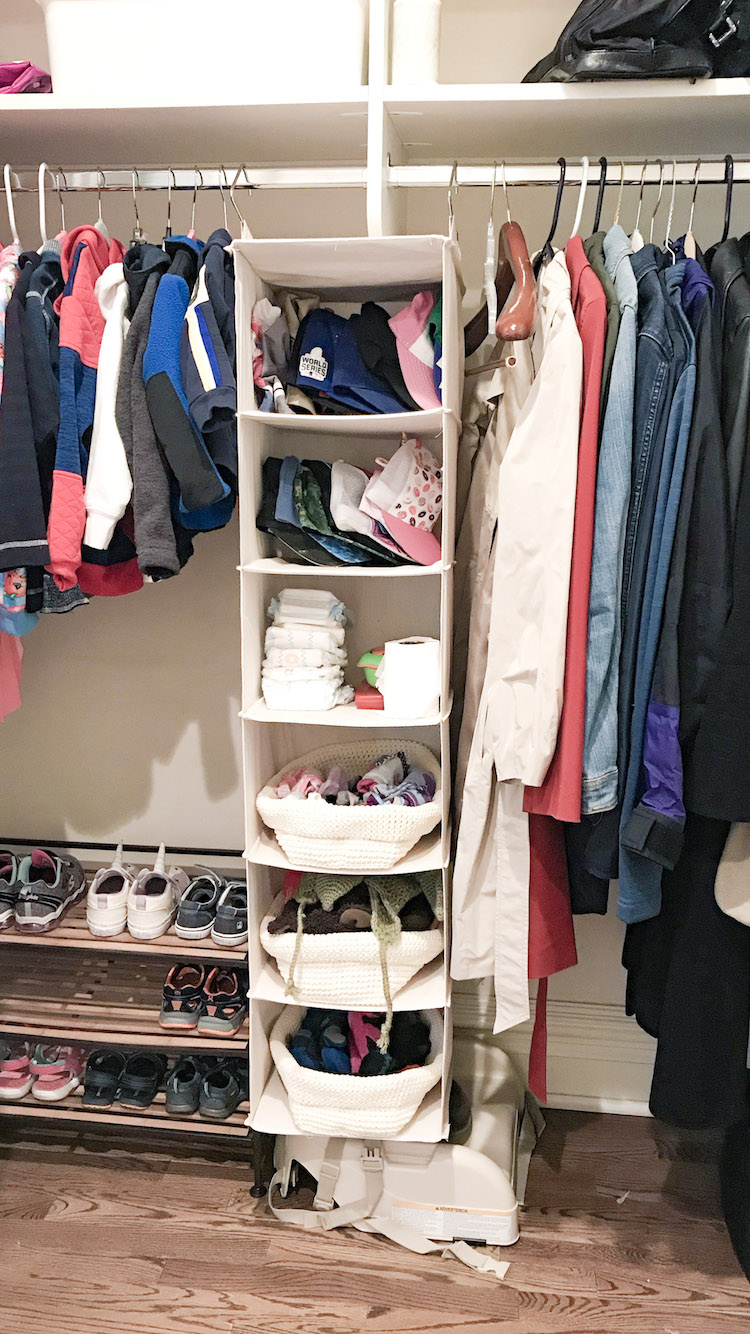 mud room coat closet organized