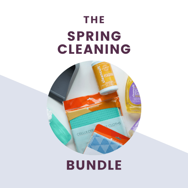 the spring cleaning bundle with pictures of cleaning supplies around text