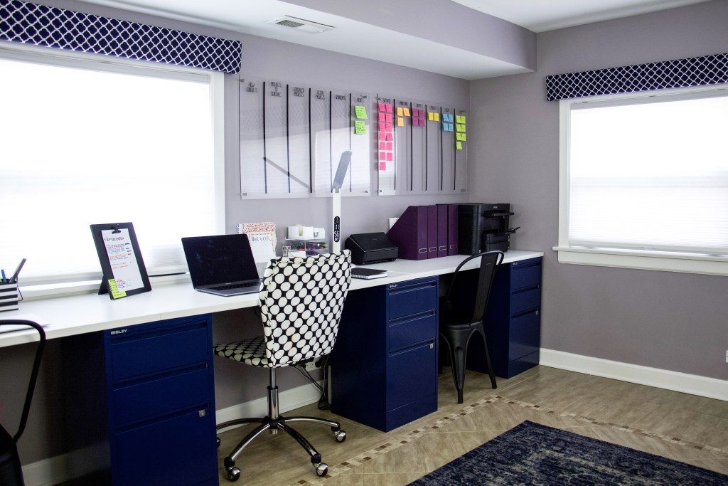 project planning desk with project plan examples using an acrylic project board broken into categories and organized using colorful post it notes. #projectplanning #organized