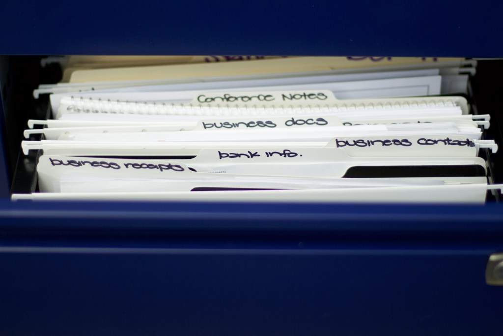 Filing cabinet with files labeled based on categories. #officeorganization