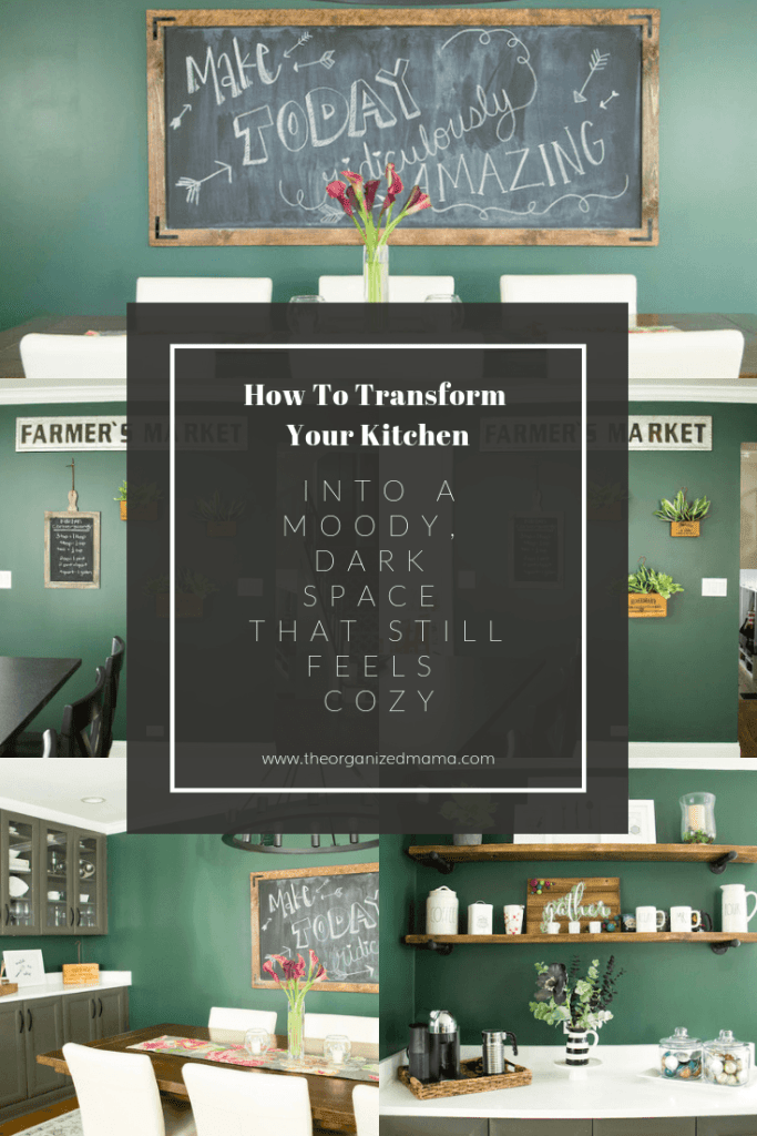 Learn how to transform your space into a moody, dark yet still cozy space like this modern farmhouse kitchen with dard hunter green paint from sherwin williams #darkkitchen #greenpaint #modernfarmhousekitchen