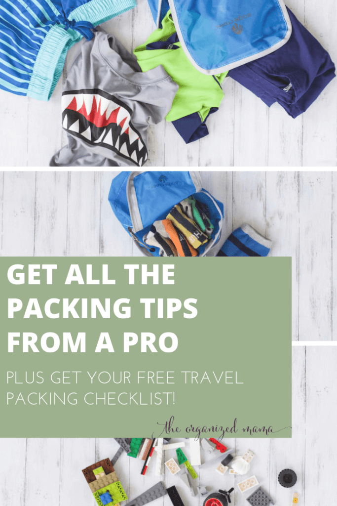 Travel packing list overly with flatlays of packing cubes and clothing