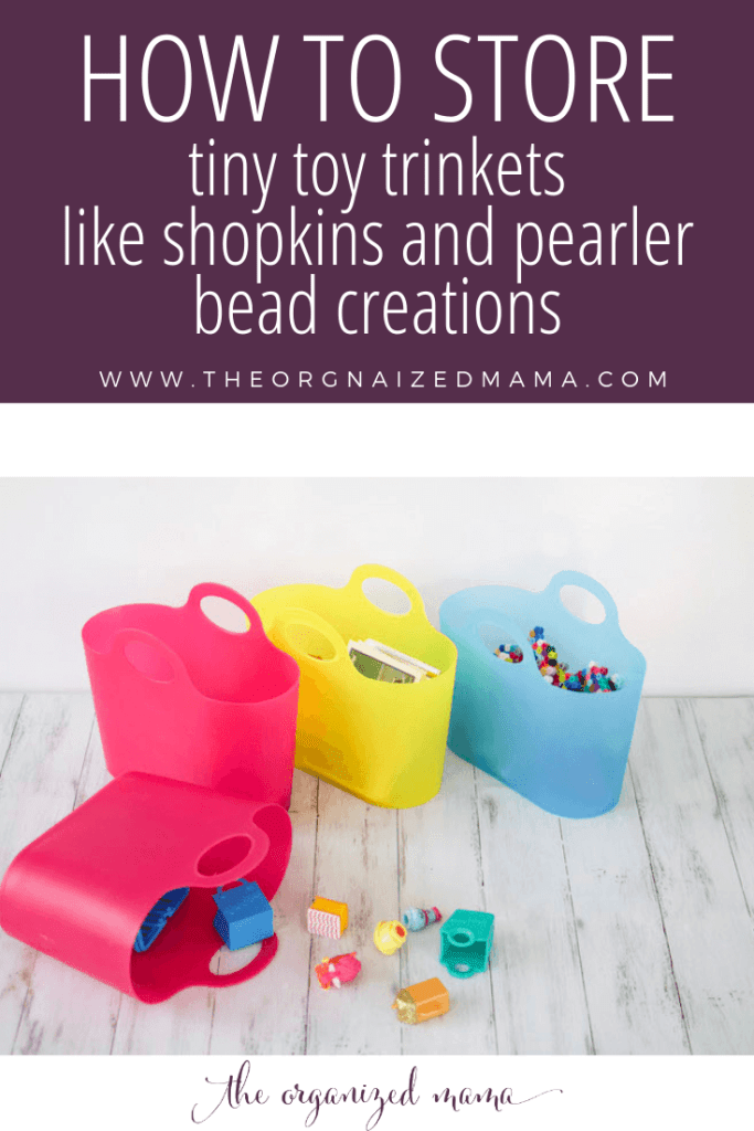 overlay how to store tiny toy trinkets with 4 mini party totes with things like pearler bead creations and shopkins characters inside