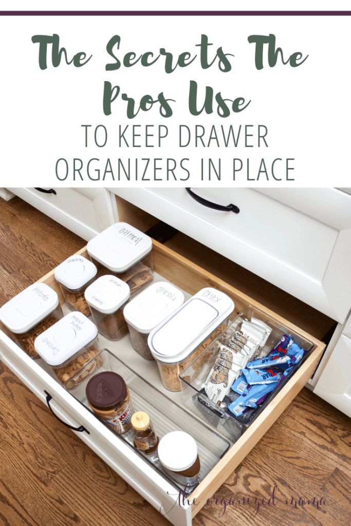Open kitchen drawer with drawer organizers inside and text overlay that says the secrets the pros use to keep drawer organizers in place #organized #kitchen