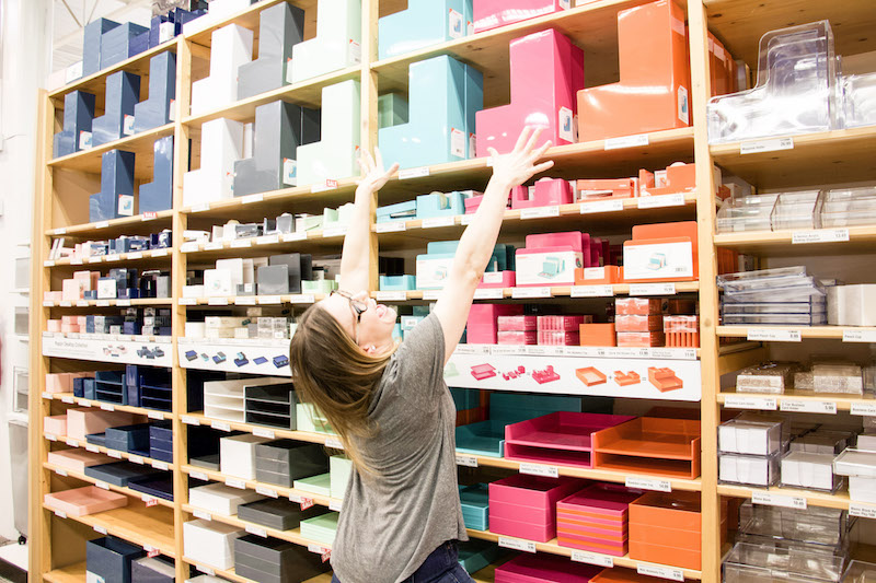 magazine holders in The Container Store with professional organizer The Organized Mama