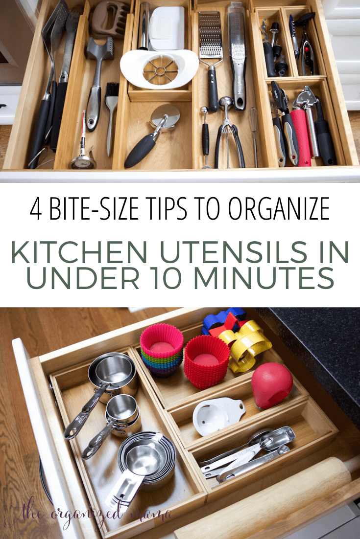 4 bite-size tips to organize kitchen utensils in under 10 minutes overlay on organized drawers of kitchen utensils #organize #kitchen #sustainable