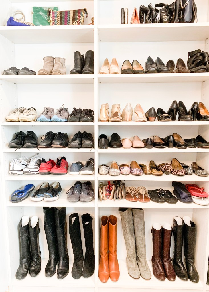 Closet with lots of organized shoes to illustrate the decisions fatigue we face.