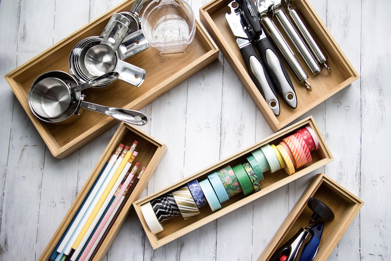 drawer organizers with items inside