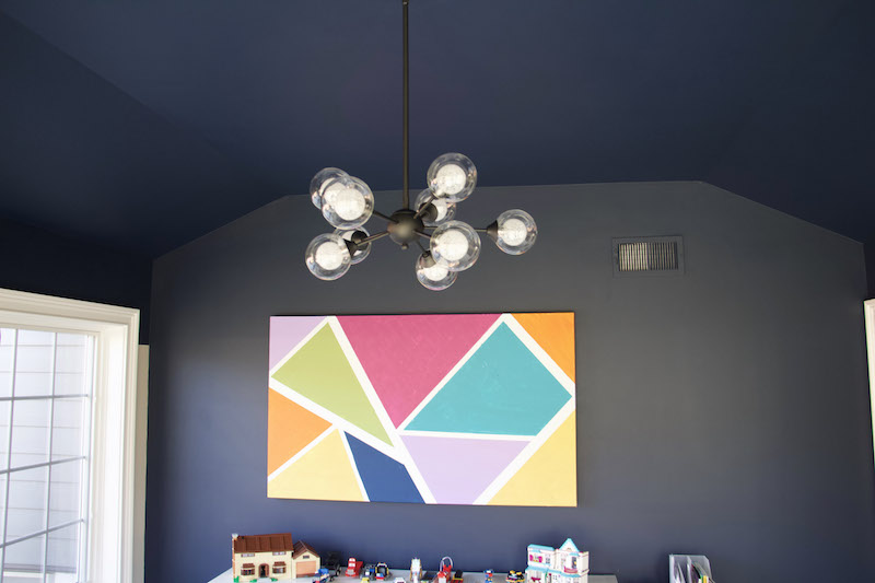 painted ceiling with chandelier
