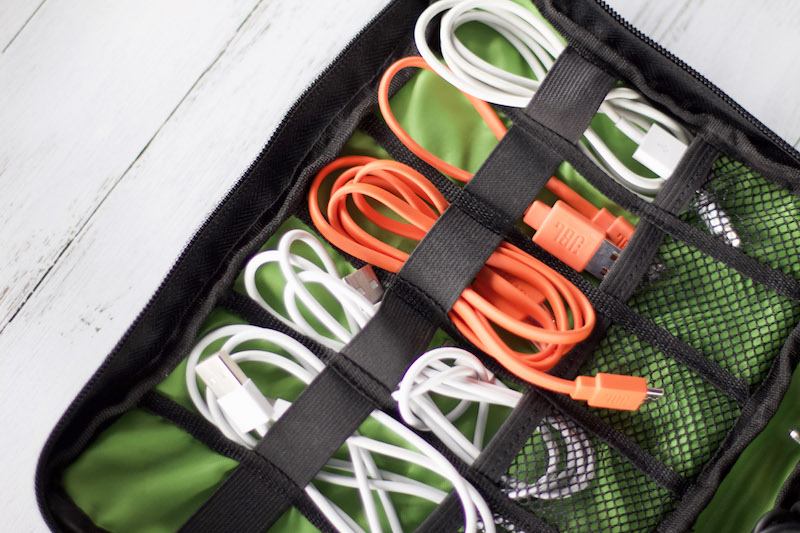 cords stored in travel cord organizer #cordstorage