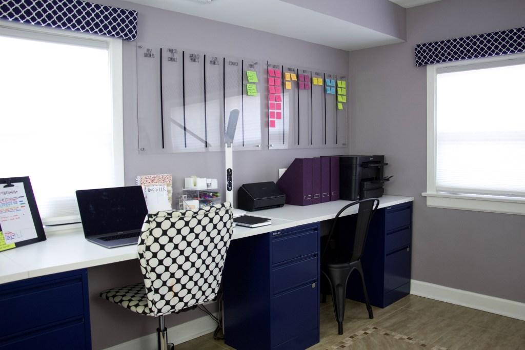 Organized desk and wall-mounted project board #deskorganization #officeorganization