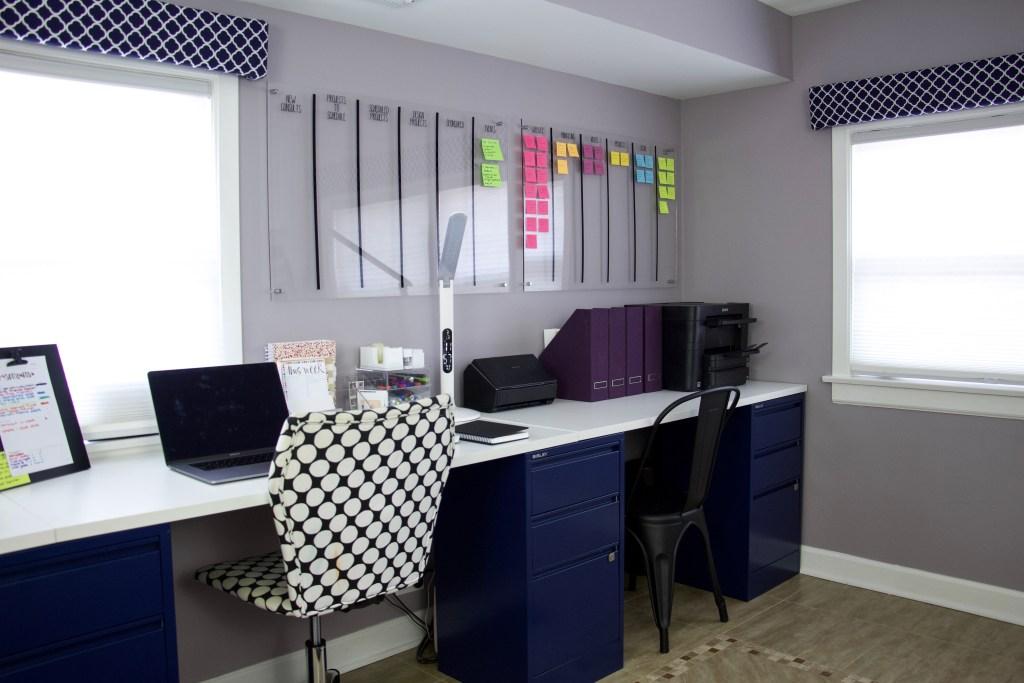 Organized desk and wall-mounted project board #deskorganization #officeorganization