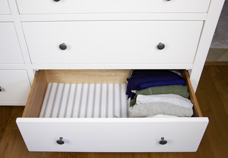 dresser drawer with easyliner fabric top with file folded clothes
