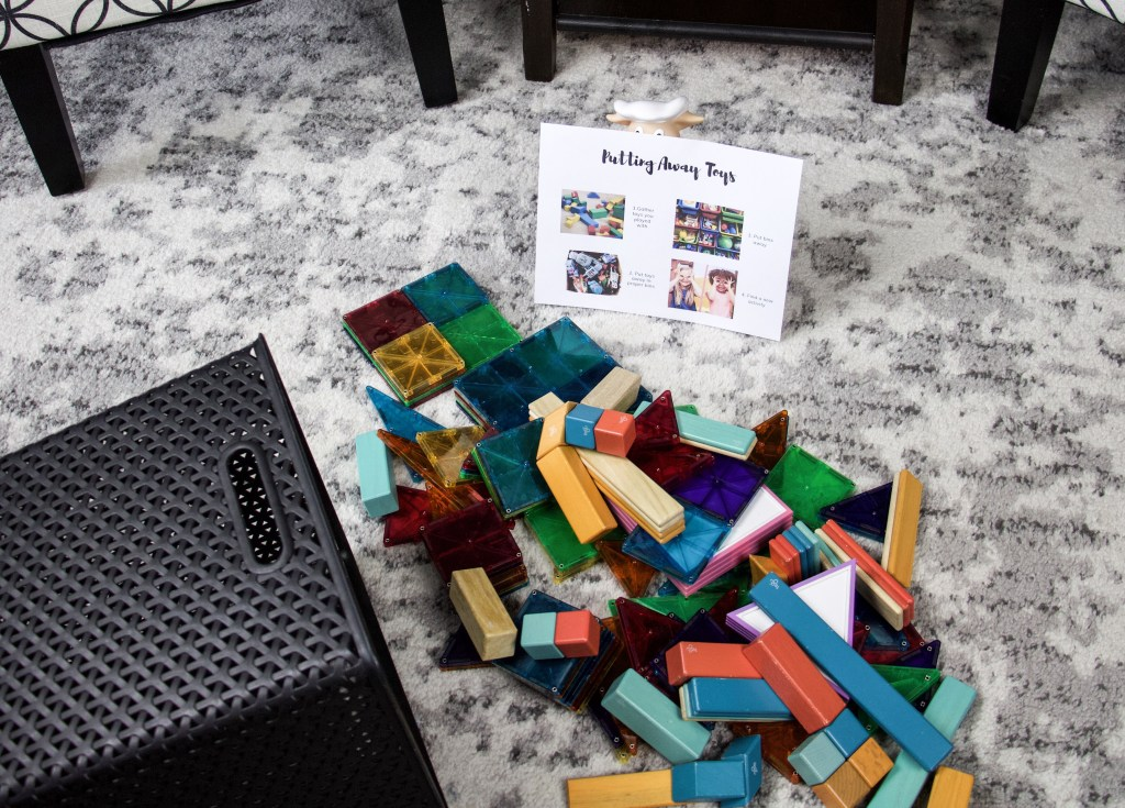 Mess of toys to represent getting kids organized