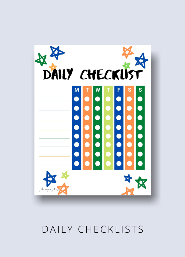 daily checklist kids productivity pack