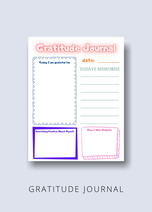 gratitude journal kids productivity pack