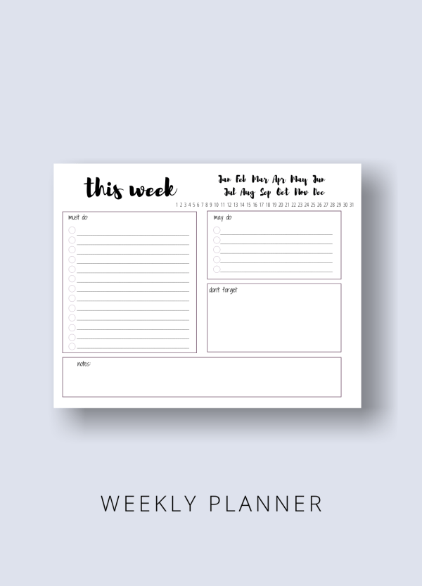 weekly planner graphic for the mama productivity bundle