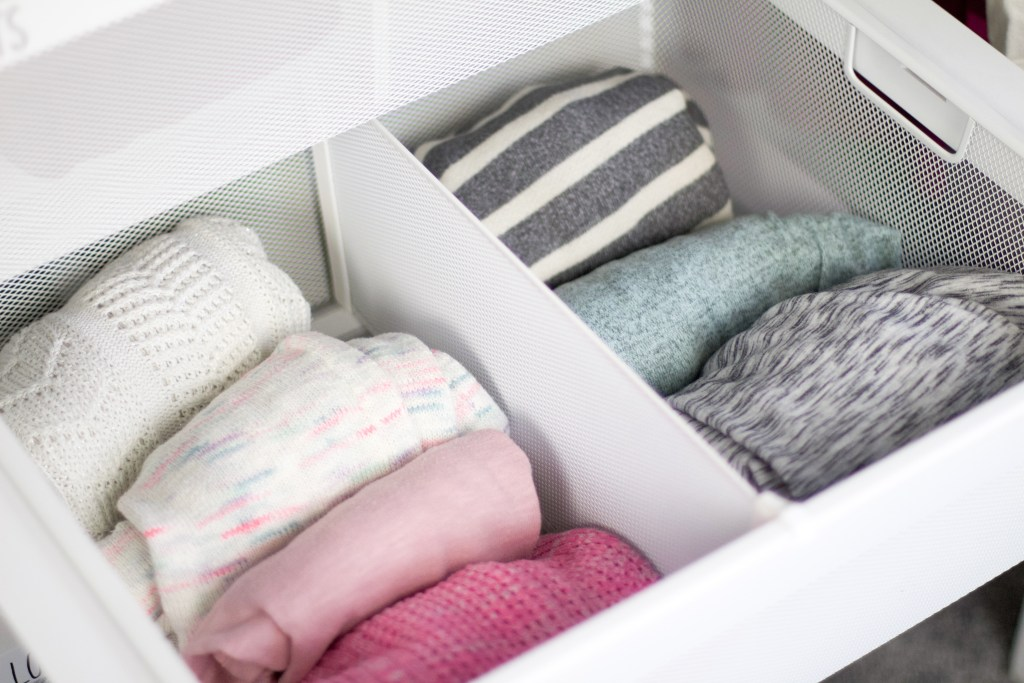 declutter kid's room clothing drawers with liners
