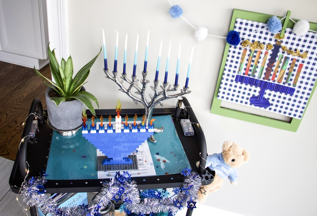 top of hanukkah cart with drip mat and menorah
