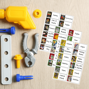 flat lay of play tools next to picture labels of toys for organizing kids toys