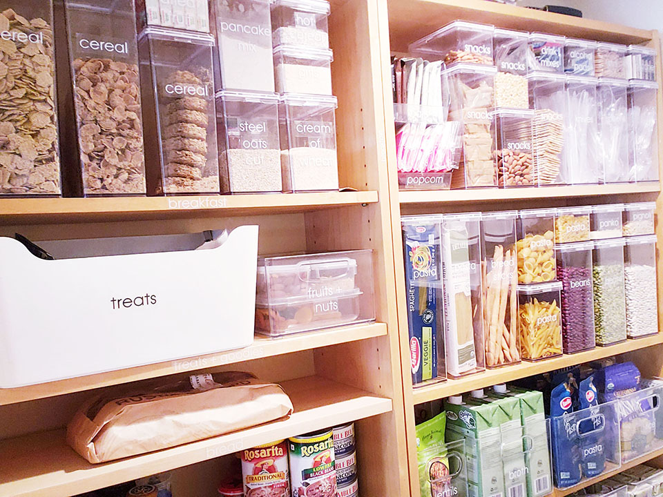 pantry shelves with bins of food