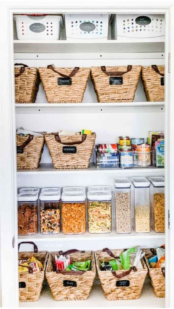 pantry with seagrass baskets and OXO containers for cereal