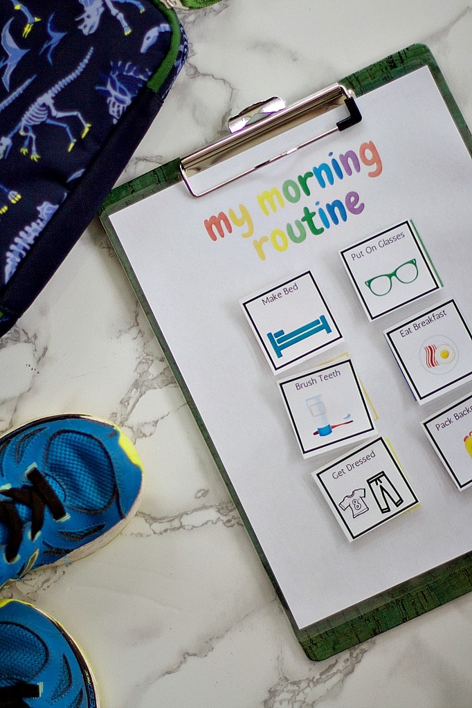morning routine checklist with shoes and lunch bag