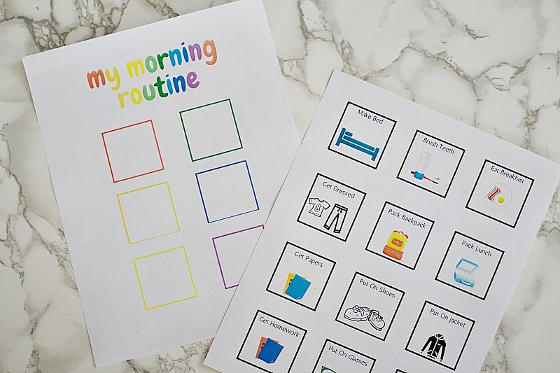 my morning routine printables laid out
