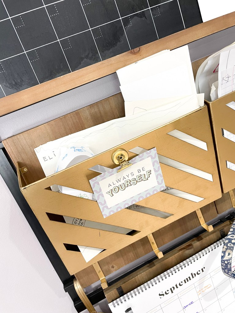 file hangers on command center with paper inside