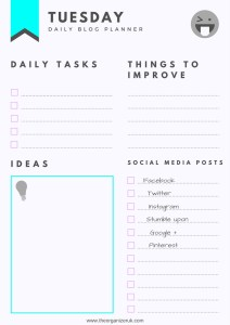 daily blog planner checklist template