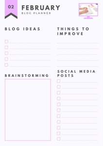 Monthly blog planner template .