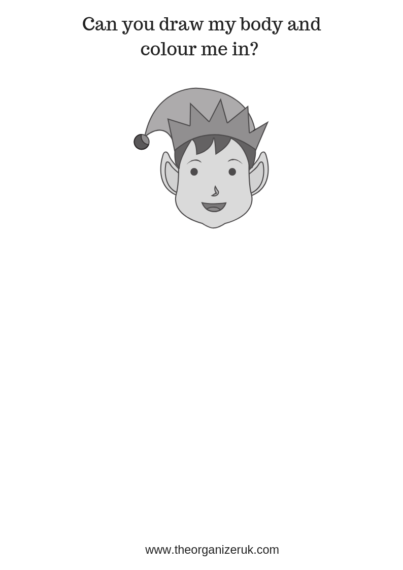 boy elf colouring pages and worksheet