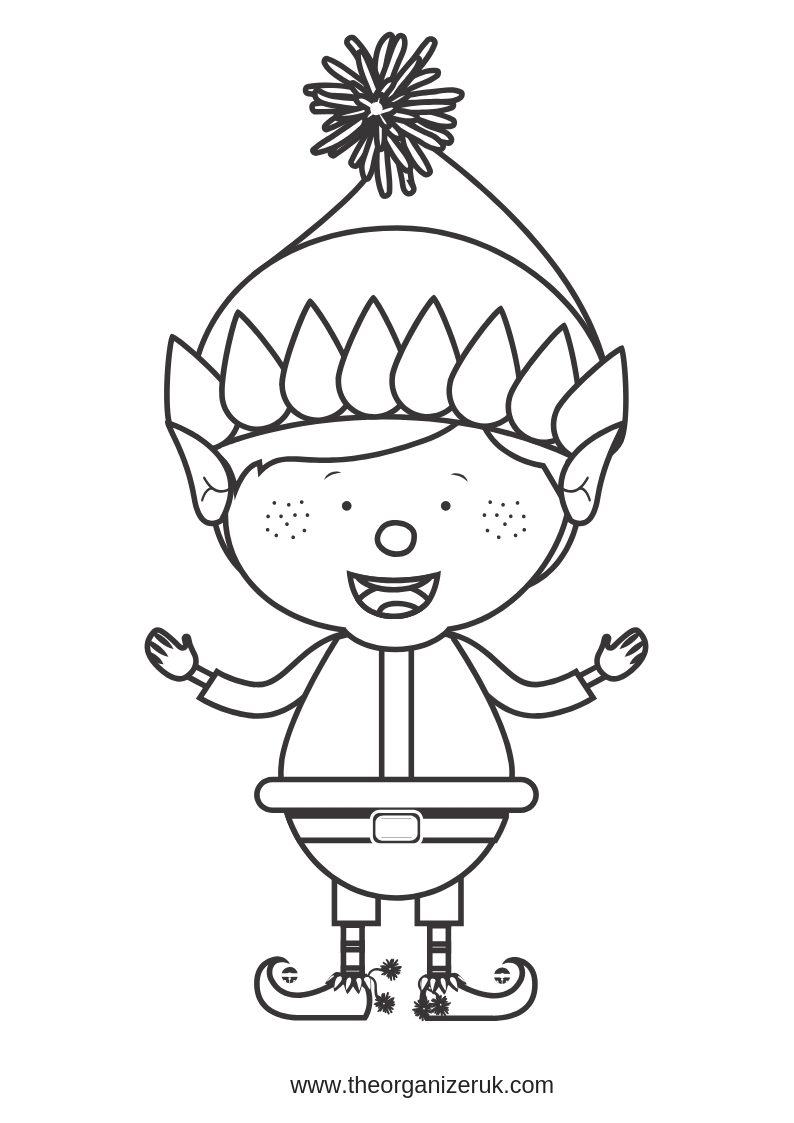 happy elf colouring pages