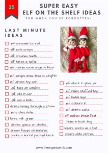 simple elf on the shelf ideas checklist
