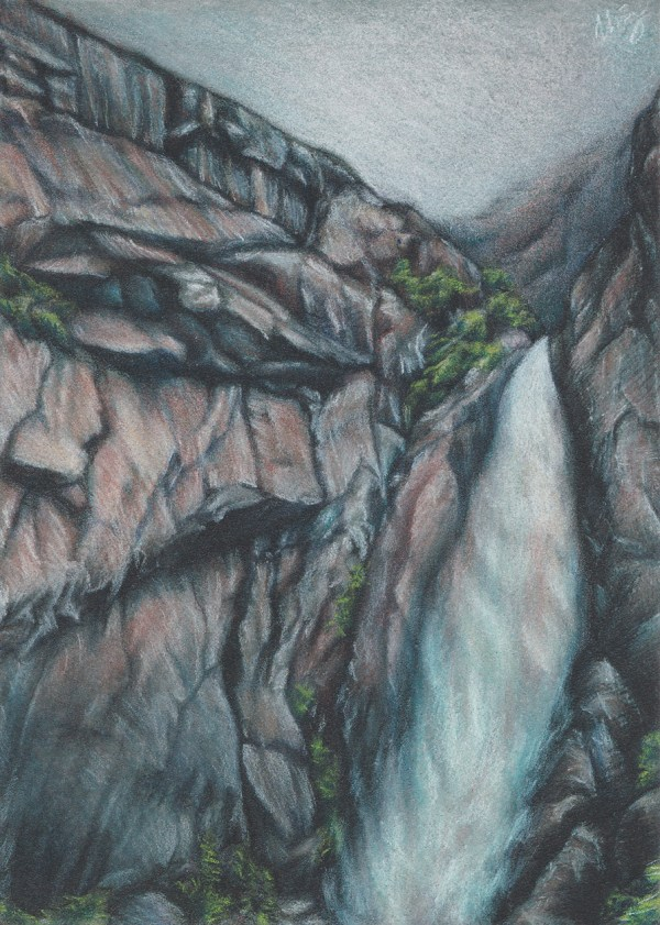 A gloomy day at Yosemite. Pastel pencil on pastel board.