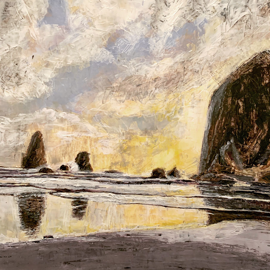A palette knife painting of Cannon Beach. Located along the Oregon coastline, the waves crash against the rocky coast in the softer light of sunset.