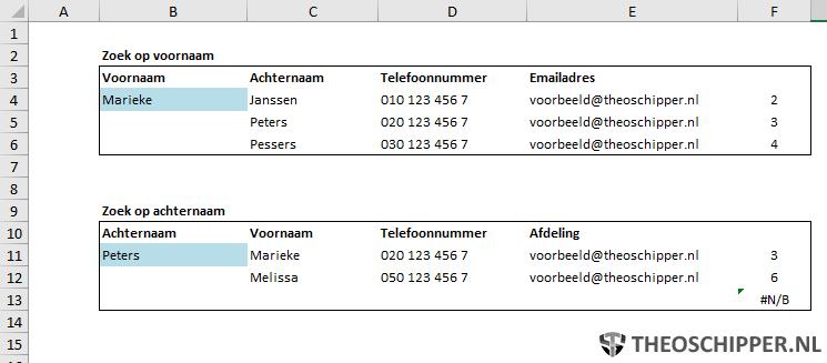 Excel-lent - Adresboek zoeken op naam met meerdere resultaten