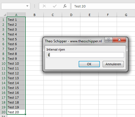 Excel Interval rijen