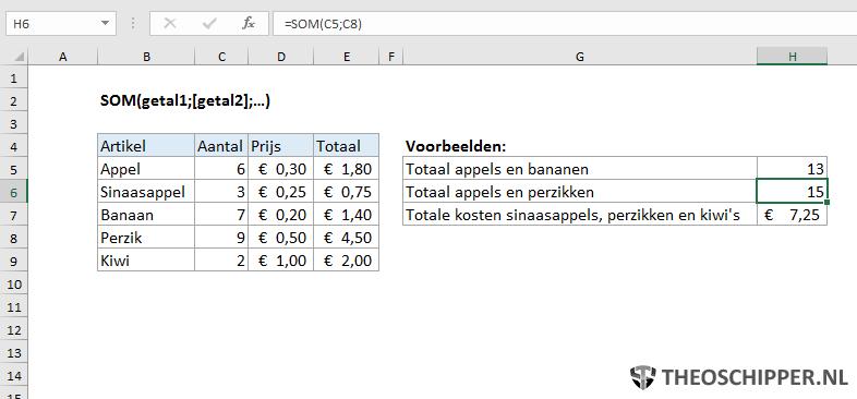 SOM() functie in Excel uitgelegd