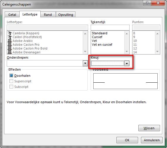 Excel voorwaardelijke opmaak Celeigenschappen