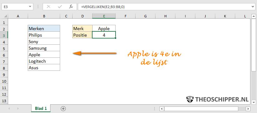 Excel VERGELIJKEN exact