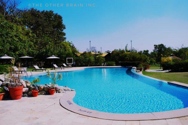 Swimming Pool View at Aahana Resort in Jim Corbett National Park