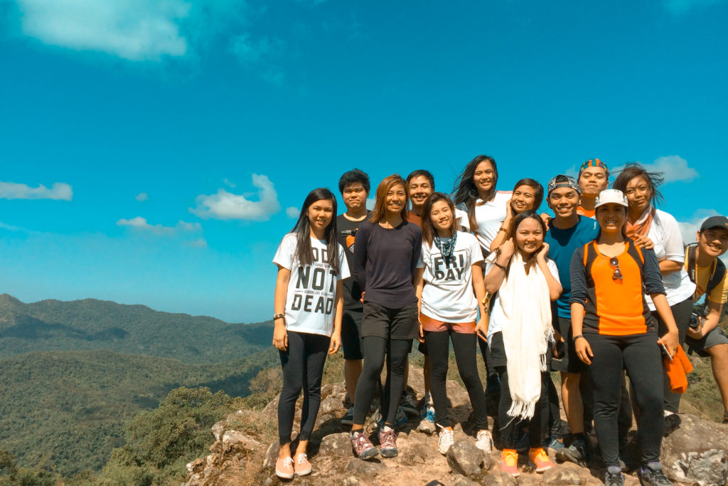 mount marami group of hikers at the summit