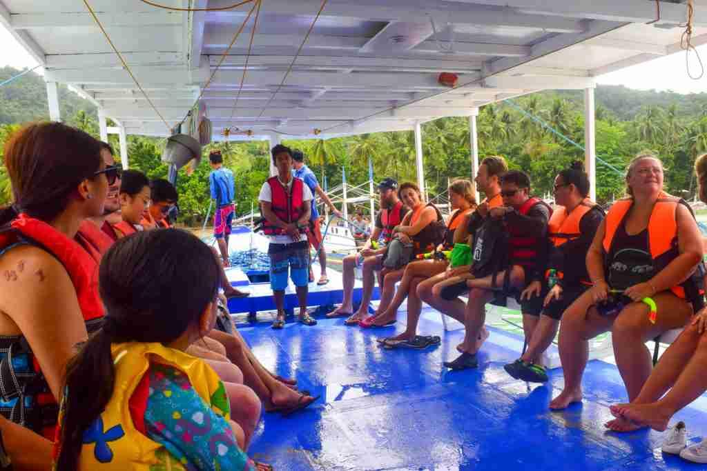 el nido guests in the boat