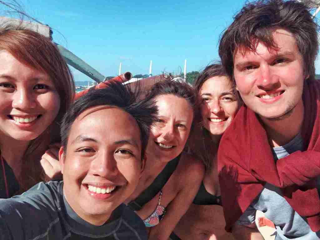 italian and filipino friends in el nido palawan