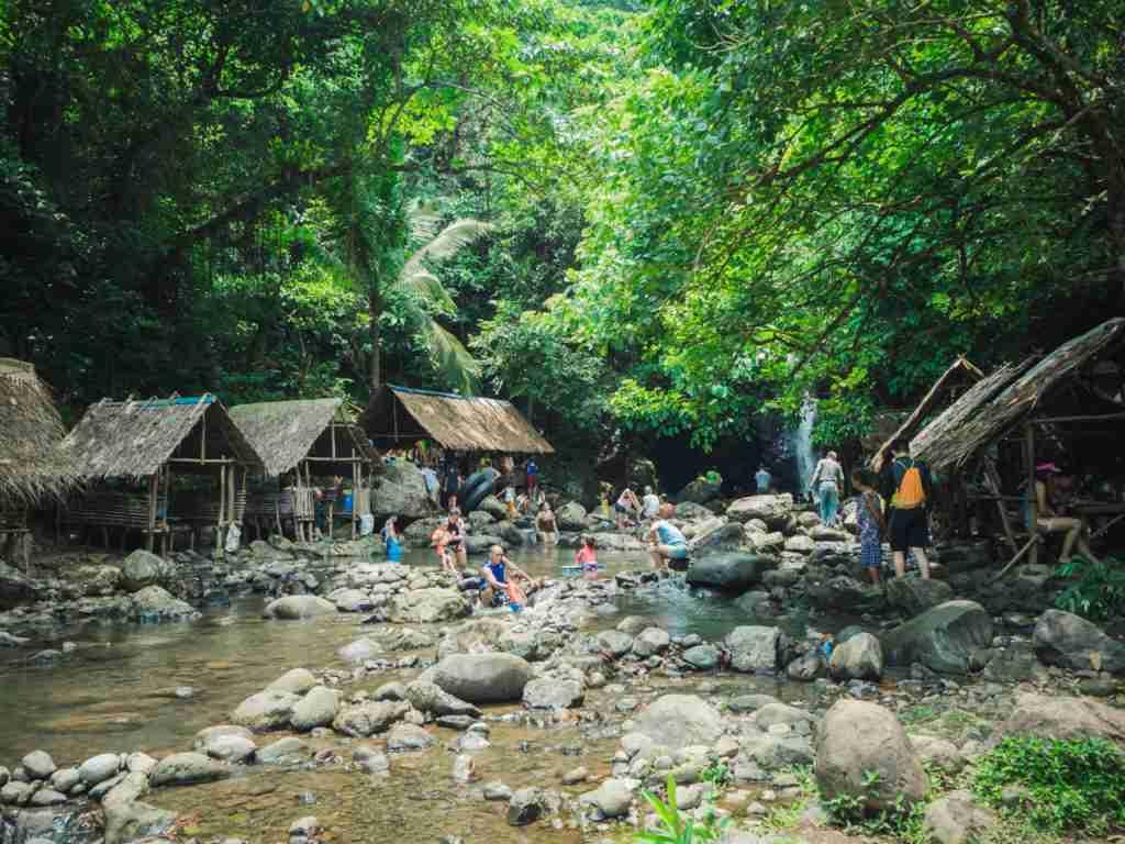 Nipa huts on the side of Nonok Falls