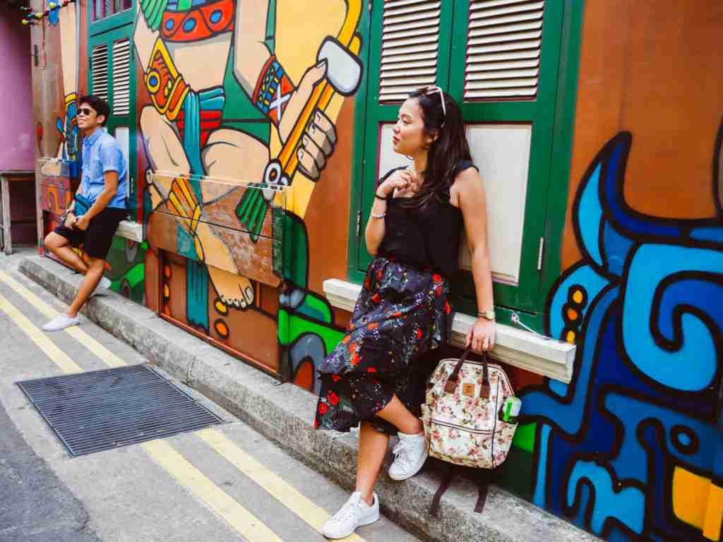 colorful wall murals in haji lane